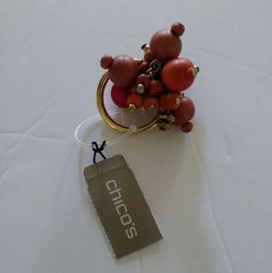 Chico's Arrosa Gold Tone Stretchy Pink & Gold Ring